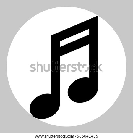 Music note icon. Black icon in white circle at gray background.