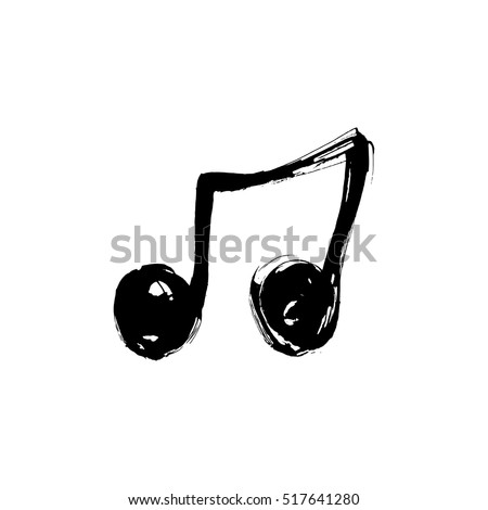 Music note icon.  Music note background. Hand drawn vector Illustration