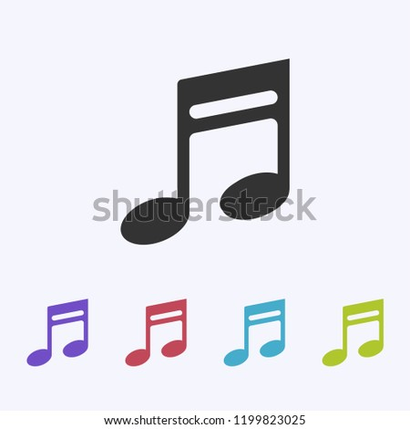Music note icon, note sign, quaver symbol, musical