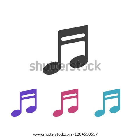 Music note icon, quaver symbol,
