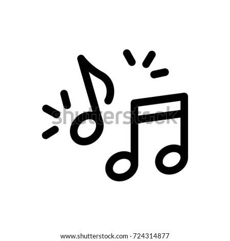 Music Note Icon Vector Fat Design Editable Stroke. 512x512 Pixel Perfect.