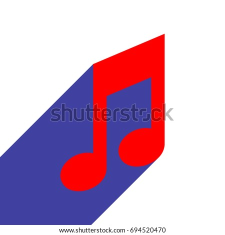 music note icon vector red