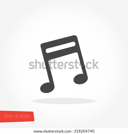 Music Note Isolated Flat Web Mobile Icon / Vector / Sign / Symbol / Button / Element / Silhouette