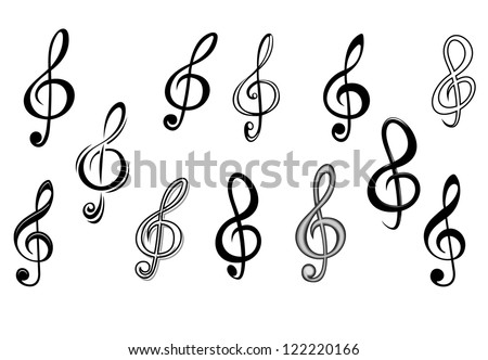 Music note keys set isolated on white for entertainment design, such a logo template. Jpeg version also available in gallery