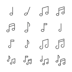 Music note line icons set. Stroke vector elements for trendy design. Simple pictograms for mobile concept and web apps. Vector line icons isolated on a white background.