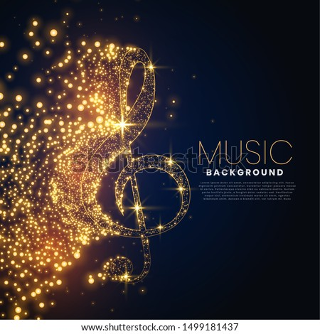 music note made with glowing particles background design Stock photo ©