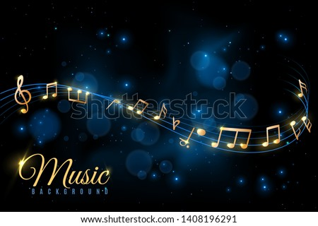 Music note poster. Musical background, musical golden notes swirling. Jazz album, classical symphony concert announcement flyer vector concept