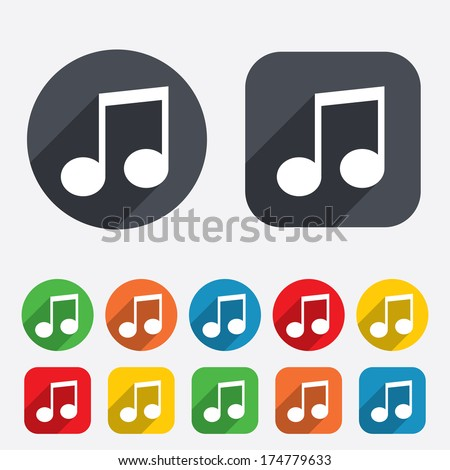 Music note sign icon. Musical symbol. Circles and rounded squares 12 buttons. Vector