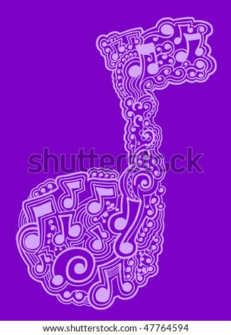 Music Note Sketch doodle Henna Vector
