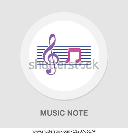 Music note symbols. Single flat icon on the circle. Vector illustration