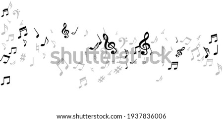 Music note symbols vector design. Song notation signs placer. Festival music concept. Isolated note symbols elements with pause. Birthday card graphic design. Photo stock ©