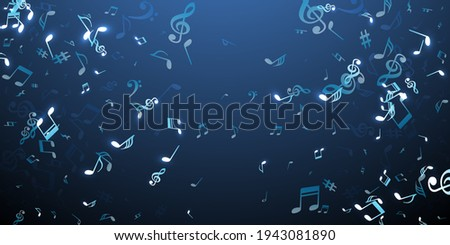 Music note symbols vector wallpaper. Melody notation elements explosion. Dance music pattern. Modern note symbols elements with sharp. Banner graphic design. Photo stock ©