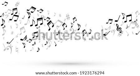 Music note symbols vector wallpaper. Melody notation elements placer. Radio music concept. Retro note symbols signs with sharp. Album cover backdrop. Stock photo ©