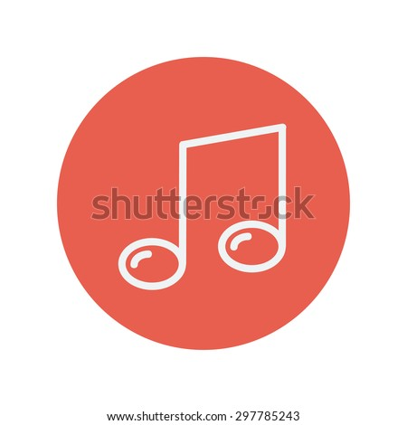 Music note thin line icon for web and mobile minimalistic flat design. Vector white icon inside the red circle