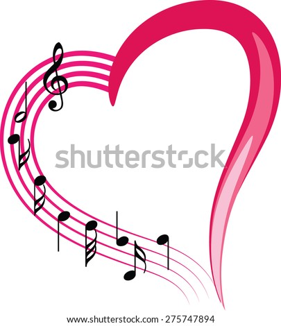 music note with heart shape icon