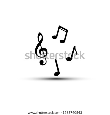 music note with shadow. Vector illustration in flat style.