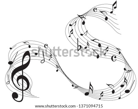 Music notes. Abstract musical background. Black Abstract music notes on line wave background.