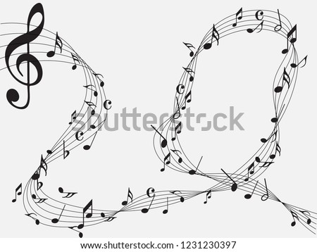 Music notes .Abstract musical background. Vector illustration. Mensural musical notation. Black notes symbols. Note value. Music staff.