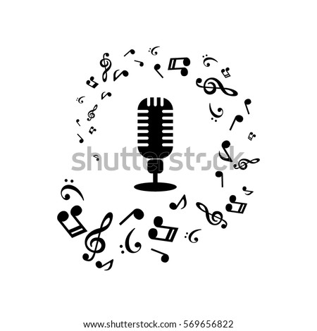 music notes and microphone on