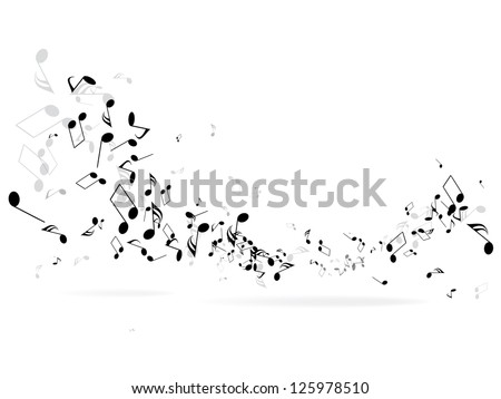 Shutterstock Music notes and shadow.Abstract musical background. Vector illustration.Mensural musical notation.Black notes symbols.Note value.Music staff.