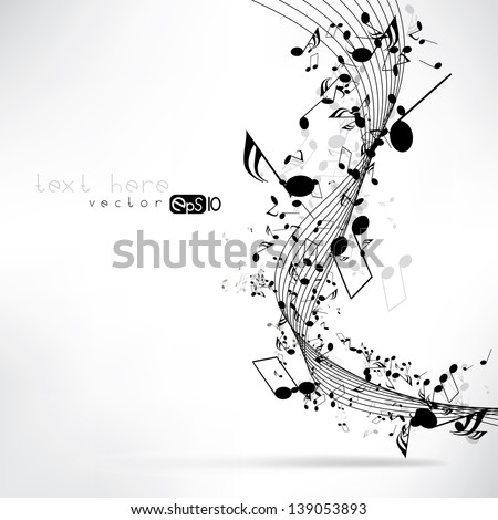 Music notes and shadow.Abstract musical background. Vector illustration.Mensural musical notation.Black notes symbols.Note value.Music staff.