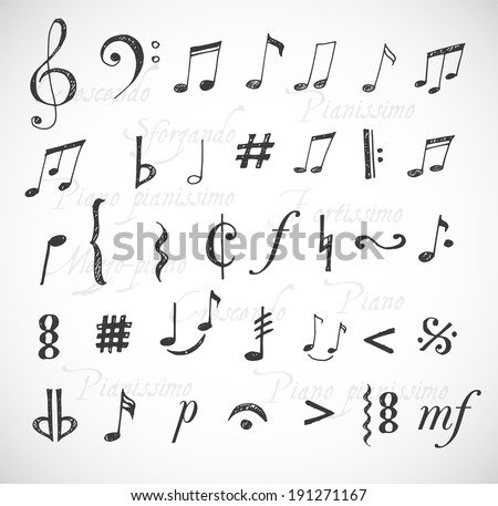 Music notes and signs hand-drawn in sketchy style. Vector illustration.