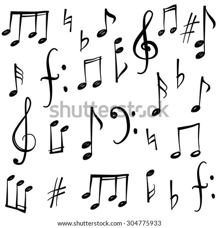 music notes and signs set hand