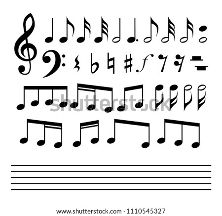 Music notes and symbols set. Music notes, stave and symbols collection.