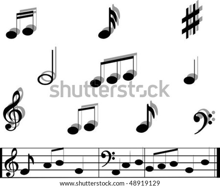 Music notes and symbols with sample music bar