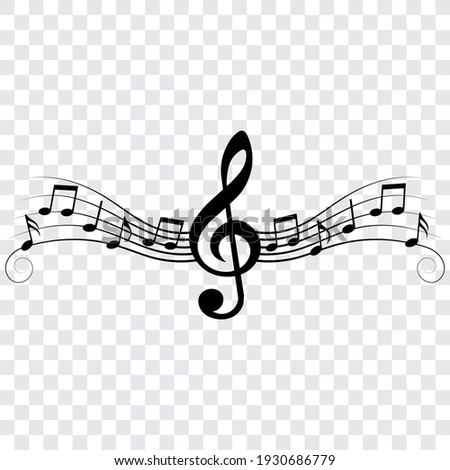 Music notes and treble clef, musical design element with swirls, vector illustration.