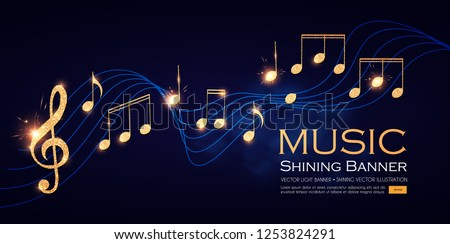 Music Notes and Treble Clef on Swirling Stave. Elegant Gold Design Elemant. Vector illustration