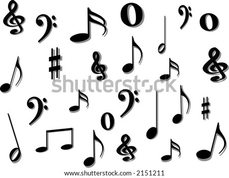 images of music notes symbols. stock vector : Music notes