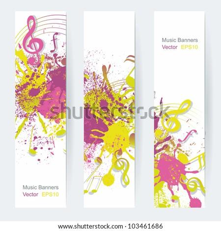music notes banner design