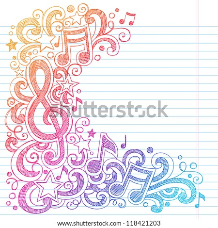 music notes g clef vector  back