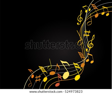 Music notes gold on a black background