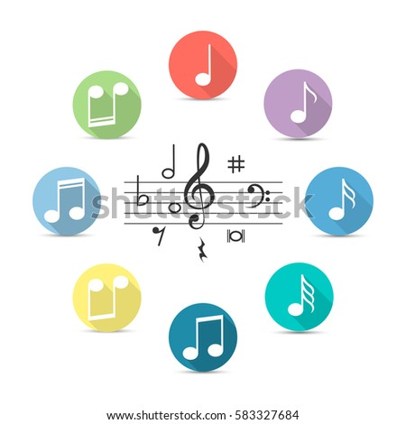 Music notes icon in flat style isolated on transparent background. Vector illustration for music design.