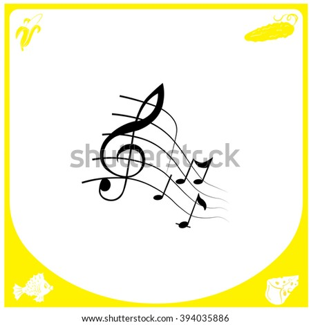 music notes icon simple black