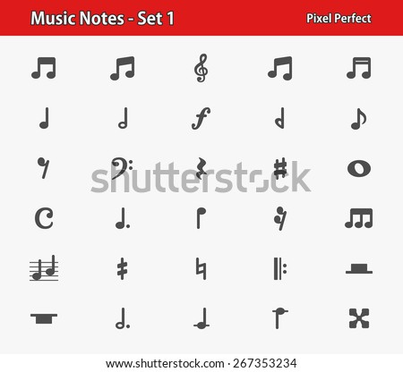 Music Notes Icons. Professional, pixel perfect icons optimized for both large and small resolutions. EPS 8 format.