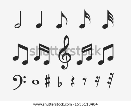 Music notes icons set. Musical key signs. Vector symbols on white background. Photo stock ©