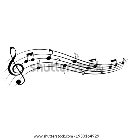 Music notes, isolated musical element, vector illustration.