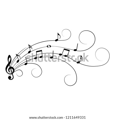 Music notes, isolated, vector illustration.