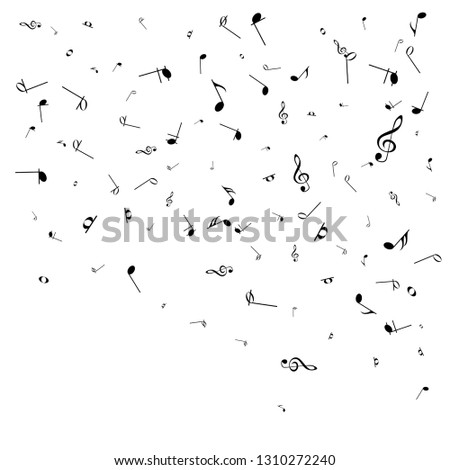 Music notes. Mensural musical notation. Black notes symbols.  Music staff.