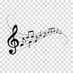 Music notes, musical design element with swirls, vector illustration.