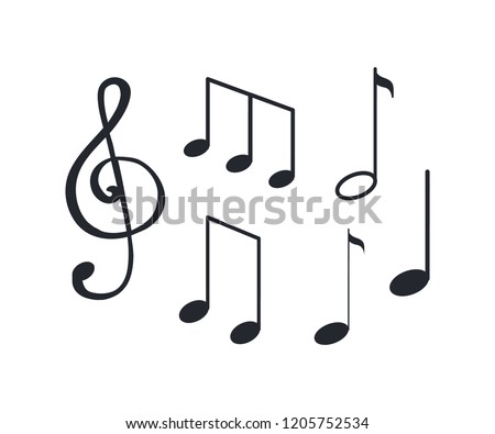 Music notes, notation tablature of sounds sketch isolated icons vector. La and minim, semiquaver and crochet melody. Visual representation symbols