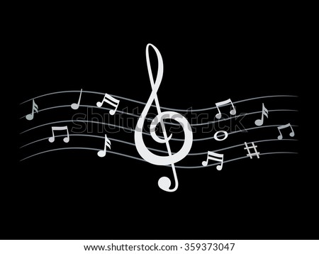 music notes on dark background