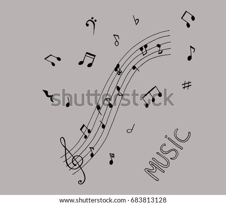 Music notes on grey background. Set of music notes. Music notes.Music notes on stave. Vector illustration.