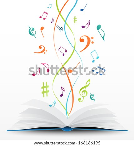 music notes on open book