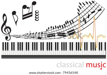 Music notes on Piano music background.