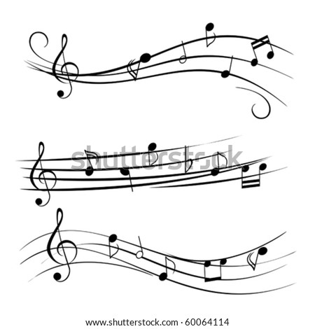 stock vector Music notes on staves