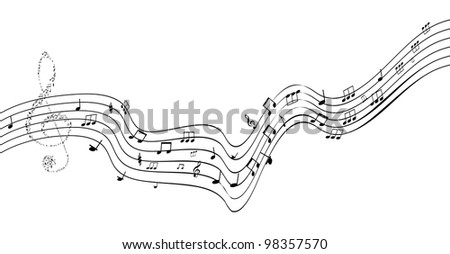 Music notes on staves. vector illustration